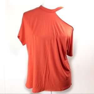 Discovery Scotty cap off  one shoulder orange top